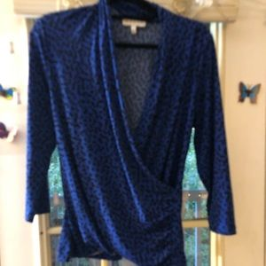 Blue leopard v neck blouse